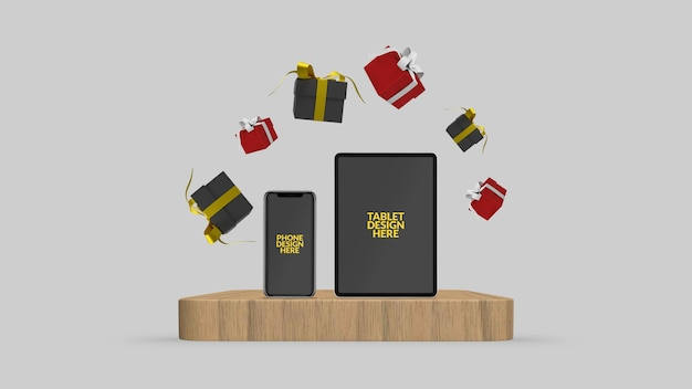 Smartphone and tablet with 3d rendered floating gift box