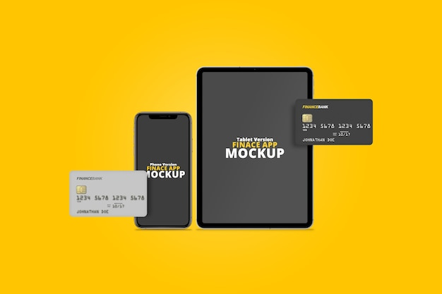 Smartphone and tablet with plastic cards mockup
