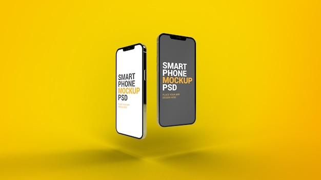 Смартфон мокап предварительного просмотра двух разных страниц приложений