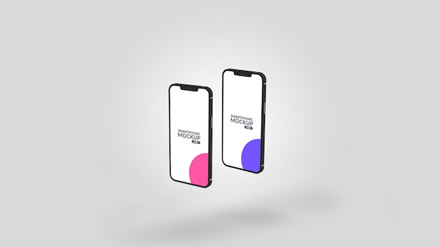 스마트 폰 두 개의 서로 다른 화면 모형 디자인