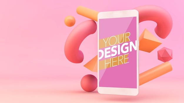 Smartphone with 3d shapes mockup