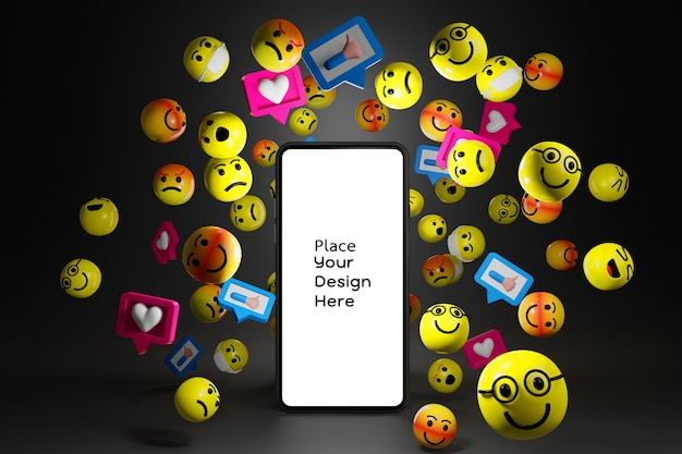 Smartphone with cartoon emoticons icons for social media in 3d rendering