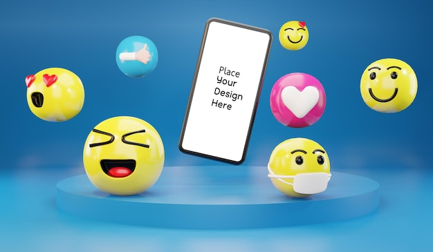 Smartphone with cartoon emoticons icons for social media.