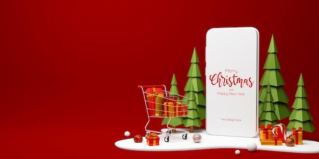 온라인 광고 쇼핑을 위한 크리스마스 선물과 쇼핑 카트가 있는 스마트폰