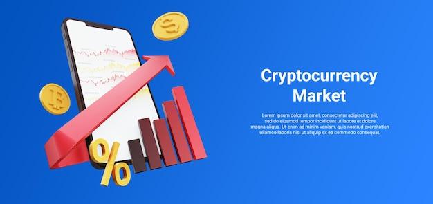 Смартфон с диаграммой криптовалюты или диаграммой стрелка вверх в гору процент биткойн-доллара 3d иллюстрация