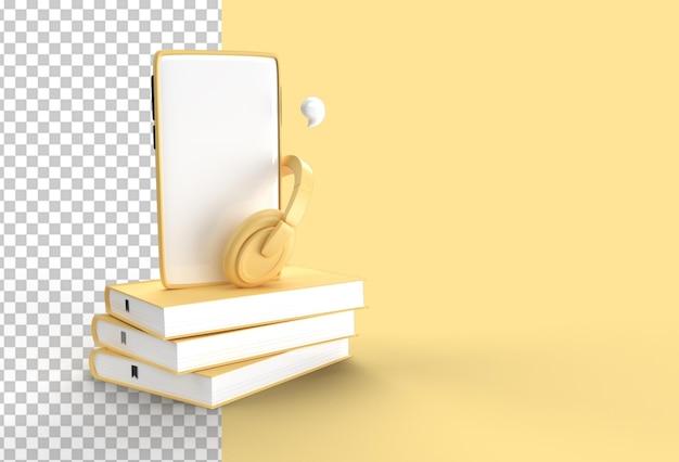 Смартфон с наушниками для аудио электронных книг в аудиоформате.