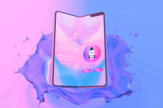 ログインページとカラフルな液体の背景を持つスマートフォン
