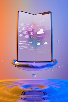 Smartphone with login page and colorful liquid background