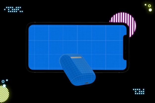 모형 화면 및 이어폰이 장착 된 스마트 폰