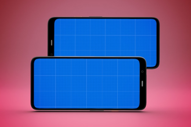 アプリのプレゼンテーション用のモックアップ画面を備えたスマートフォン