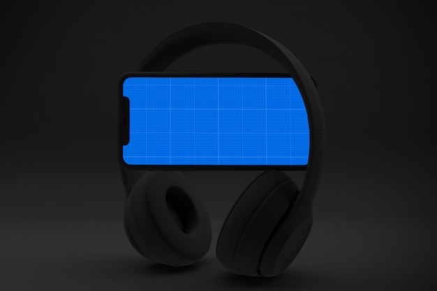 Smartphone with mockup screen and headphones, app music concept