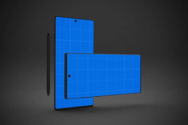 Smartphone with mockup screen, horizontal and vertical orientation