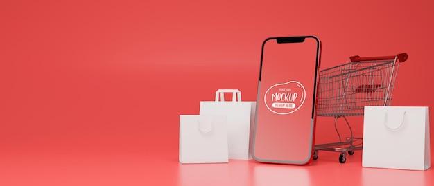 모형 화면 쇼핑백 모형이 있는 스마트폰