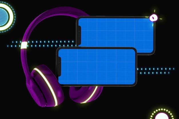 画面のモックアップとヘッドフォン、音楽アプリのコンセプトを持つスマートフォン