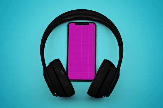 Smartphone with screen mockup and headphones, music app concept