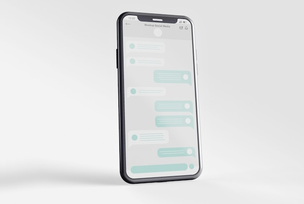 Smartphone with social media screen mockup