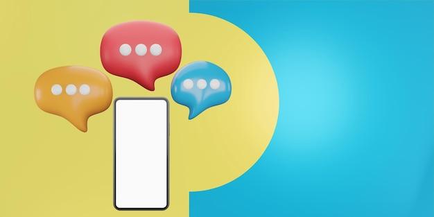 말풍선이 있는 스마트폰. 응용 프로그램, 소셜 미디어 개념에 대한 채팅. 3d 그림