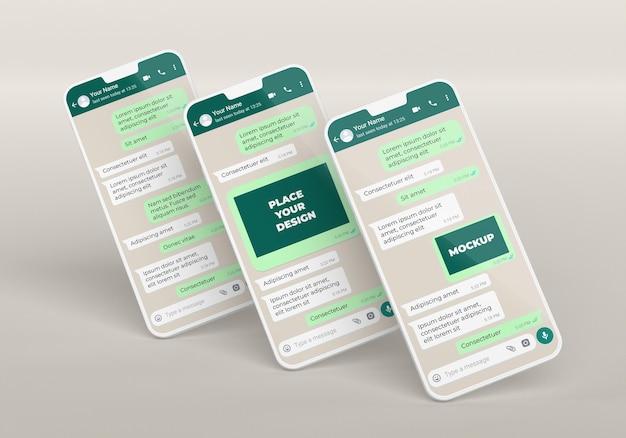 Disposizione di mockup di chat per smartphone