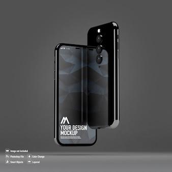分離されたスマートフォンのモックアップ