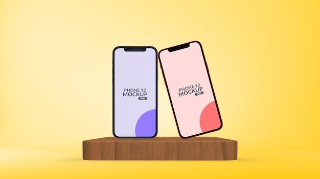 分離されたステージモックアップで異なる画面を持つスマートフォン