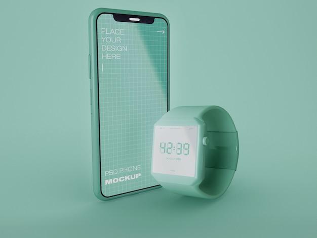 スマートウォッチと携帯電話のモックアップ