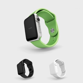 Smartwatch mock up with green watchstrap