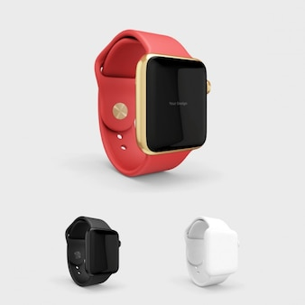 Smartwatch mock up with red watchstrap
