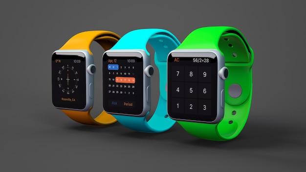세 가지 색상의 스마트 워치 모형