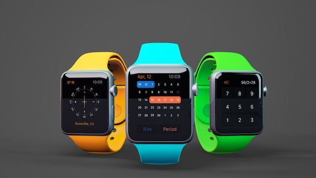 Smartwatch mockup in three colors