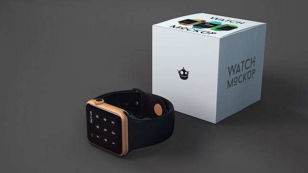 Smartwatch mockup with box