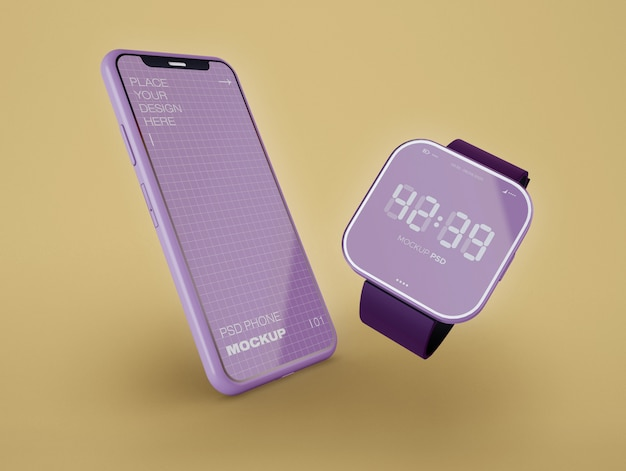 Smartwatch and phone mockup