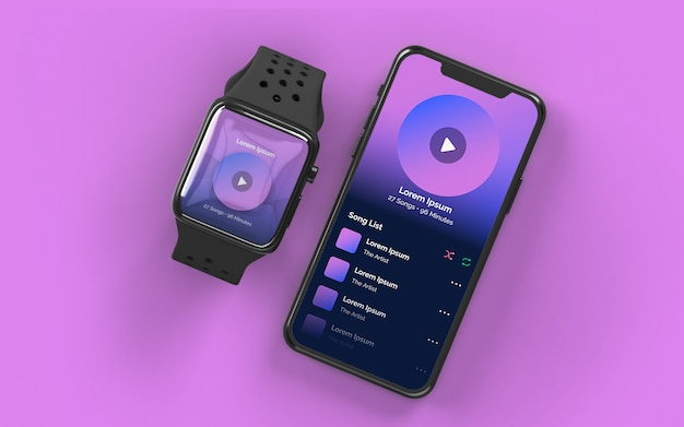 Smartwatch and smartphone mockup