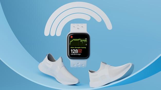 Smartwatch спортивное устройство, спортивные часы, макет с белыми кроссовками на синем геометрическом фоне