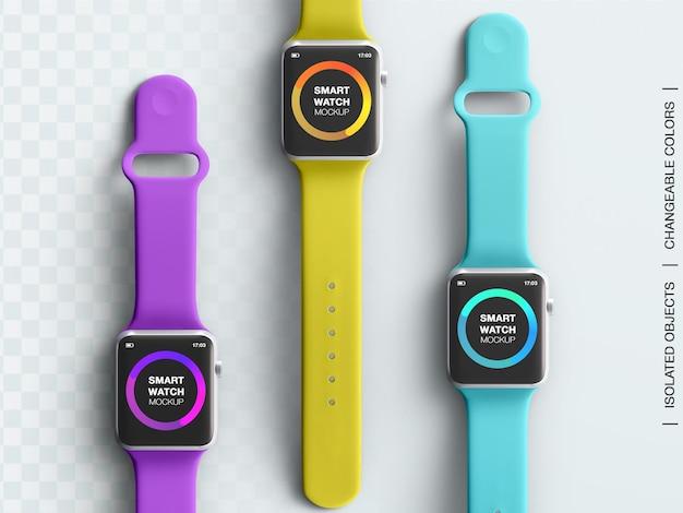 Smartwatch 스포츠 장치 화면 인터페이스 앱 디자인 프레젠테이션 모형