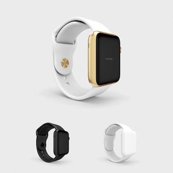 Smartwatch макете с белым watchstrap