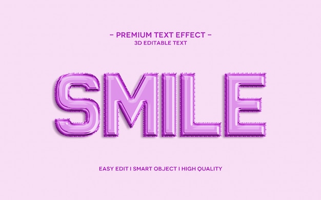 Smile 3d text style effect template