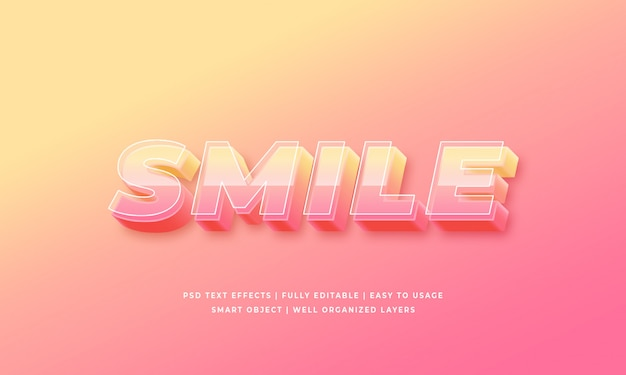 Smile 3d text style effect