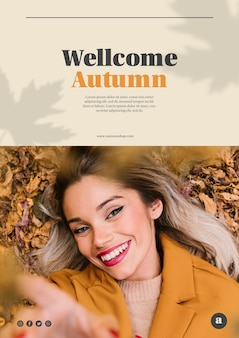 Smiley woman looking at the camera web template