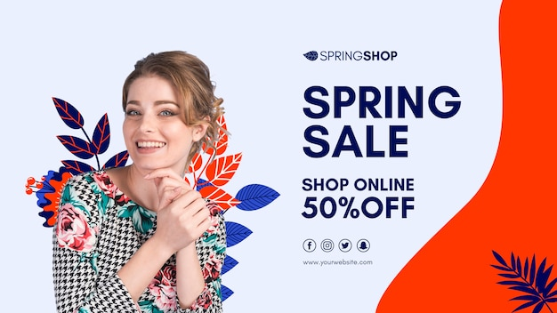Smiley woman spring sale banner