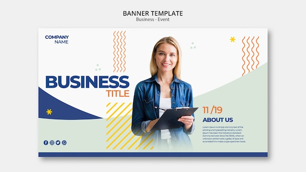 Smiley woman template for business event
