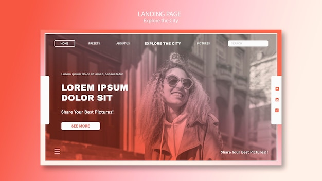 Smiley woman wearing sunglasses landing page template