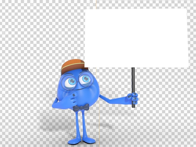 Smiling 3d character mascot holding white banner with transparent background