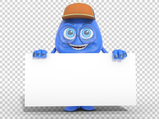 Smiling cute 3d character mascot holding blank white poster with transparent background