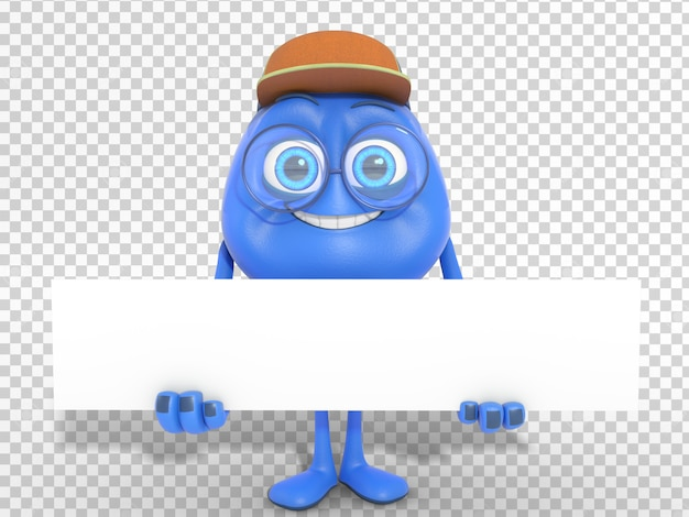 Smiling cute 3d character mascot holding white banner with transparent background