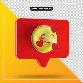 Улыбающееся лицо с символом сердца emoji в речи пузырь