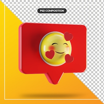 Smiling face with heart emoji symbol in speech bubble