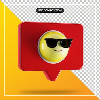 Smiling face with sunglasses emoji symbol in speech bubble