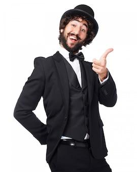 Smiling man pointing