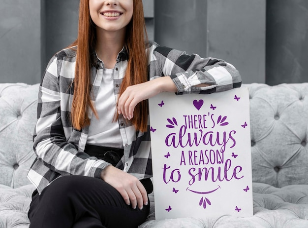 Smiling woman leaning on mock-up
