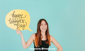 Smiling woman with speech bubble mockup